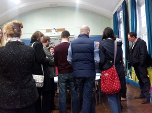 Concerned parents at Guiseley Infants School drop in session.