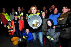 Catherine Burton leads a team of toad catchers on High Royds. Picture: John Waite, Menston Village Group Facebook page
